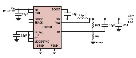 3.3V Dc power converter circuit using LTC3601