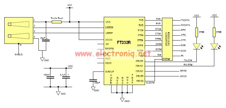 FT232 USB to Serial RS232 adapter circuit design electronic project