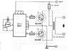 12 to 220 volts voltage converter electronic project