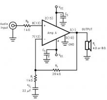 LM4765 2 x 30 watt amplifier circuit design electronic project