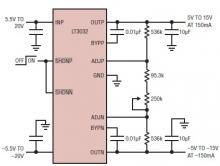 Dual positive and negative adjustable regulator LT3032