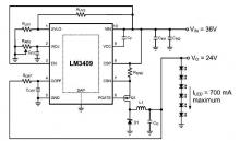 LM3409 dimming controlled LED driver circuit design
