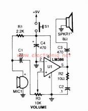LM386 voice audio power amplifier circuit design project