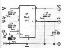 MAX680 symmetrical power supply circuit electronic project