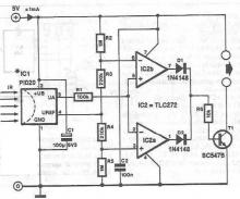 Infrared detector circuit using PID20 schematic