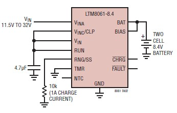 two cell 1A lithium polymer battery charger schematic circuit design using LTM8061 charger IC
