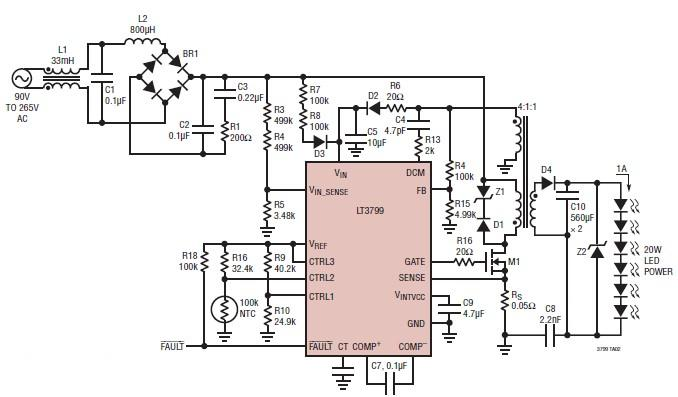 20 w triac dimmable led driver circuit using LT3799 driver