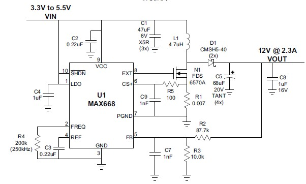 3 to 12 volts step up DC converter circuit diagram using MAX668 ic