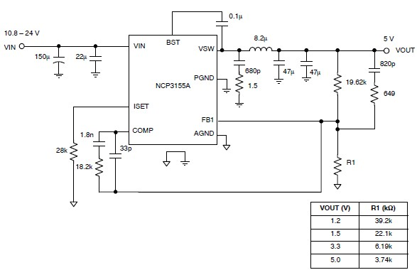 NCP3155 5 volt regulated power supply electronic project schematic