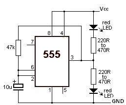 555 timer Led Flasher circuit diagram electronic project