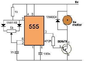 DC motor control using 555 timer circuit