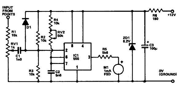 Tachometer circuit using 555 timer
