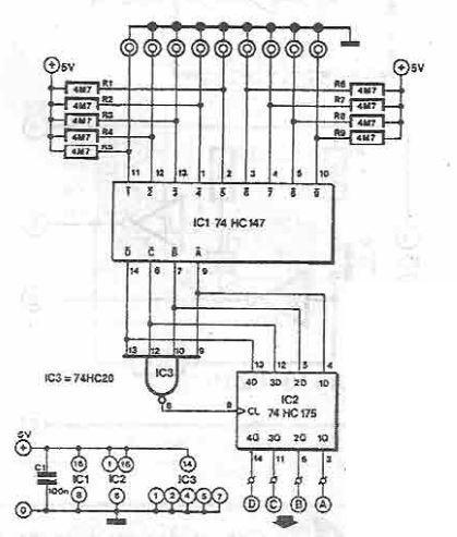 Sensor switch circuit using 74HC147