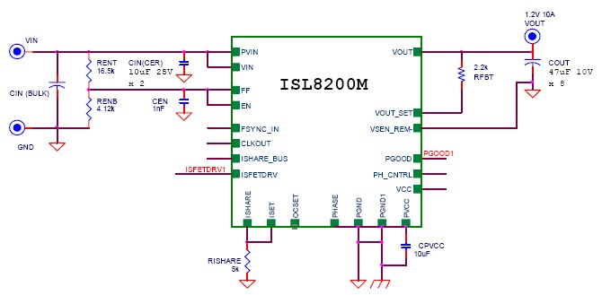 10A power supply circuit design electronic project using ISL8200M