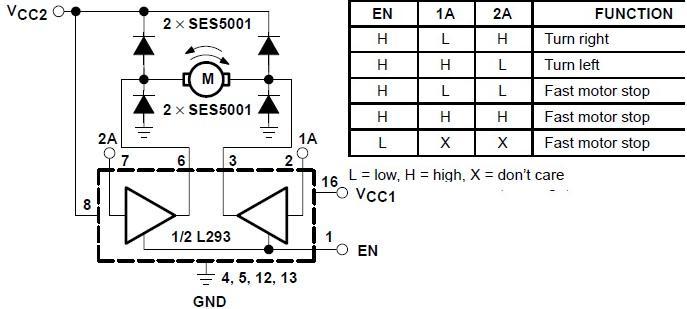 Bidirectional motor control using L293 driver