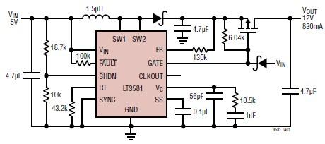 5 to 12V converter circuit diagram using LT3581