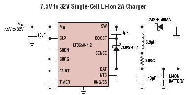 LT3650 monolithic single-cell Li-Ion Polymer battery charger