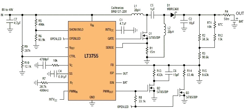 LT3755 Sealed Lead Acid Battery Charger circuit