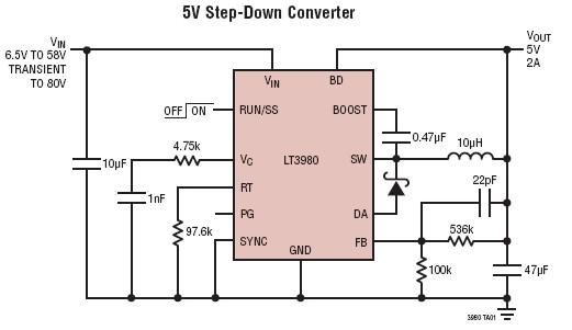 LT3980 5V 2A dc converter circuit