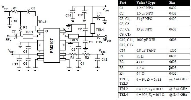 2400 MHz RF amplifier circuit diagram using PM2107