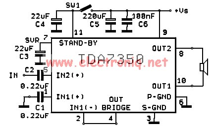 TDA7350 power amplifier circuit design bridge