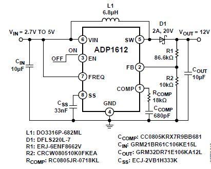 5 to 12v converter using ADP1612 circuit diagram
