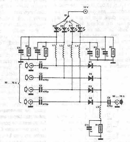 Antenna selector circuit diagram using PIN diodes