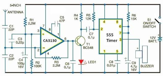 Cellular phone detector circuit