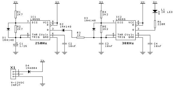 555 timer Door minder electronic project circuit diagram transmitter