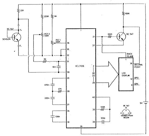 ICL7106 electronic thermometer circuit design project