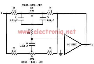 Tone control circuit designed using LM833