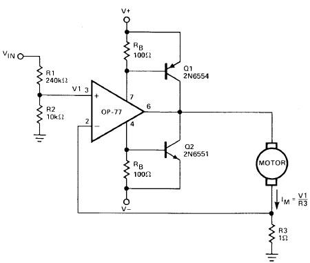 Operational amplifier DC motor driver circuit
