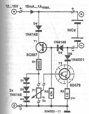 NiCd charger circuit diagram with transistors