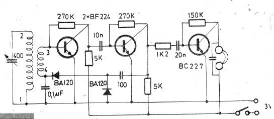 Radio receiver circuit for long and medium wave