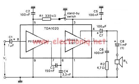 12 watt audio amplifier circuit using TDA1020 integrated amplifier