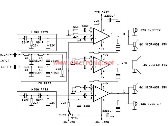 TDA2052 active audio system circuit