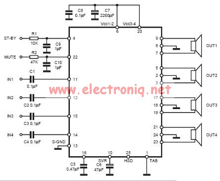 TDA7384 class AB Audio Power Amplifier circuit design electronic project