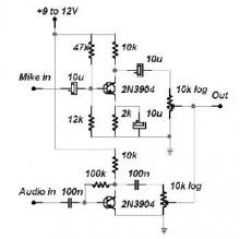 2 channel audio mixer circuit using transistors
