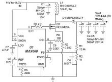 MAX668 16V 4.4A switching power supply circuit design electronic project