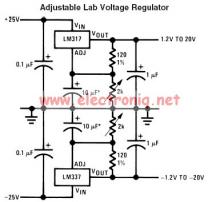 LM317 and LM337 dual variable power supply circuit design electronic project