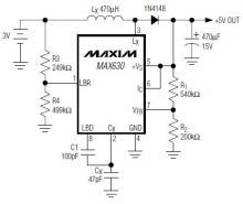MAX630 3 to 5 volt converter circuit diagram