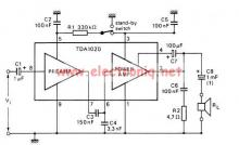 12 watt audio amplifier circuit using TDA1020 integrated amplifier
