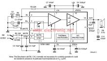 60 watts audio amplifier circuit using TDA7296 class AB amplifier